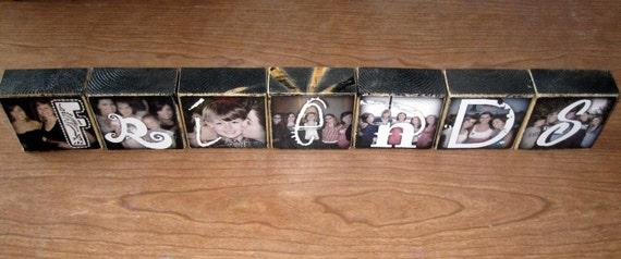 PERSONALIZED Photo Blocks Set of Seven Letter Blocks- FRIENDS Grandpa SISTERS Blessed