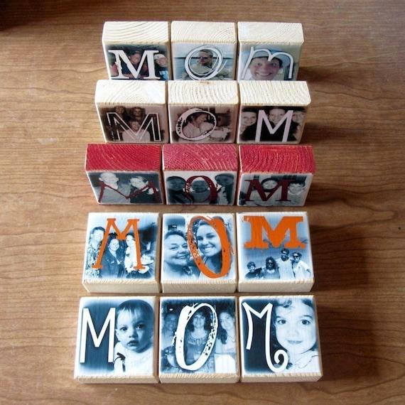 Personalized PHOTO  BLOCKS for Mom- set of three LETTER Blocks- birthday gift