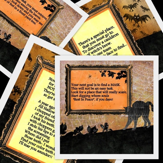 Halloween Game- PRINTABLE Halloween Scavenger Hunt- 11 riddles and instructions