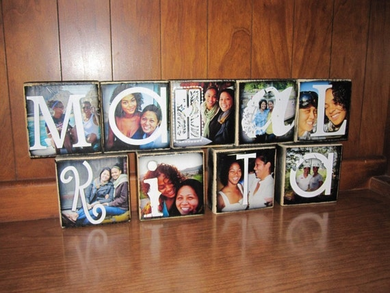 Recycled Upcycled wood- Personalized Photo Letter Blocks- I LOVE YOU  te amo Mahal Kita- per block price