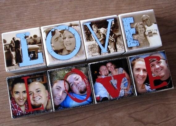PERSONALIZED photo block GIFT- Photo Letter Blocks- set of 4 Letter Blocks- LOVE