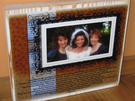 FOREVER FRIEND Personalized Photo Collage Blocks- Custom made to order