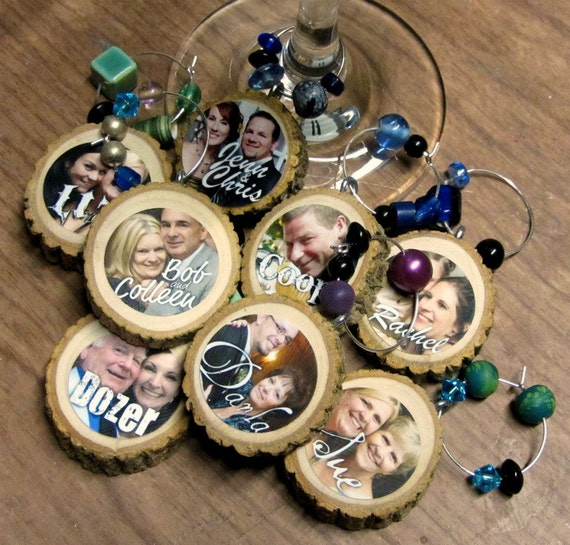 DRINK LABELS- Custom Photo Wine CHARMS made from tree branches and reclaimed beads- set of 8