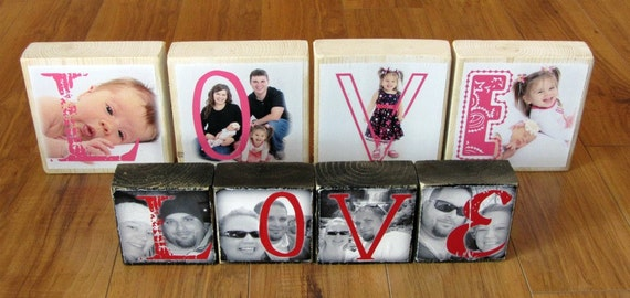 PERSONALIZED Photo Letter Blocks instead of a Grandparent's Day card- Love- set of 4 LARGE blocks