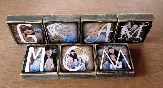 Personalized Photo Blocks instead of a card- set of 7 LaRGE- custom made with Love