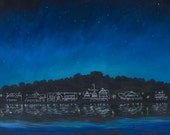 Boathouse Row Before Dusk, Philadelphia PA Rowers art, BHR Boat House Row painting, Rowing print