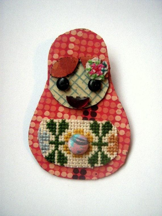 Betty Babushka Lino brooch
