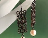 art nouveau brass filigree and pearl earrings