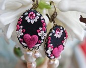 Lilygrace Pink and Black Cameo Earrings with Pink Hearts, Vintage Rhinestones and Freshwater Pearls