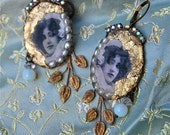 Lilygrace  Cameo Earrings Sultry Maiden with Freshwater Pearls and Vintage Rhinestones