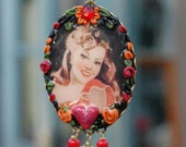 Lilygrace Saucy Tropical Girl  Cameo Pendant with Vintage Rhinestones, Carnelian, Ruby Quartz and Serpentine Jade