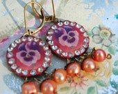 Lilygrace Vintage Pansy Cameo Earrings with Vintage Rhinestones and Freshwater Pearls