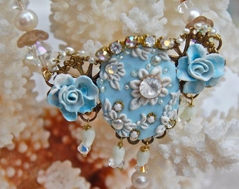 Lilygrace Delicate Blue Floral Cameo Necklace with Freshwater Pearls and Vintage Rhinestones