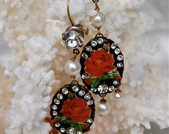 Lilygrace Vintage Red Rose Oval Cameo Earrings with Vintage Rhinestones and Freshwater Pearls