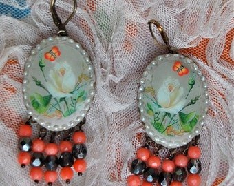 Lilygrace Ivory Rose Earrings with Freshwater Pearls, Coral and Vintage Beads