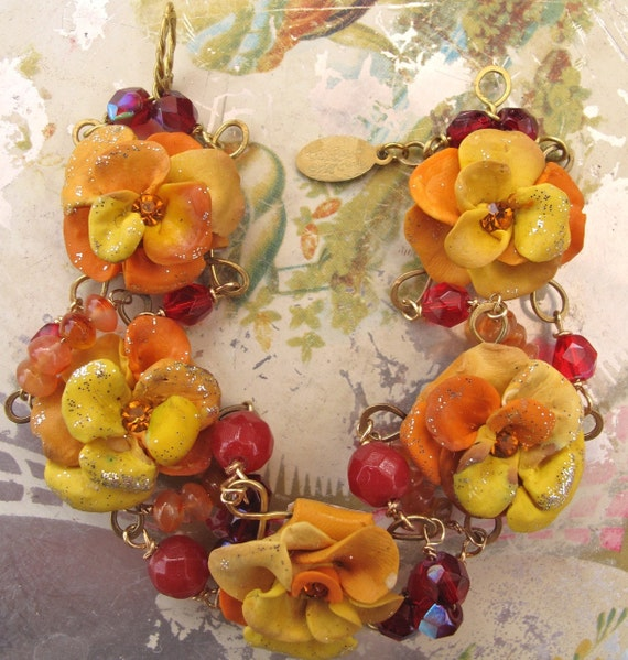 RESERVED - Lilygrace Orange and Lemon Flower Bracelet, with Vintage Rhinestones, Jade, Carnelian and Secret ShowGirls