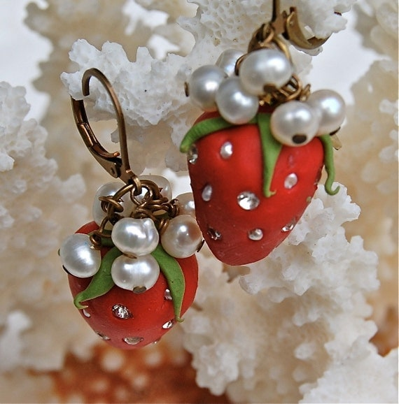 Lilygrace Scarlet Strawberry Earrings with Vintage Rhinestones and Freshwater Pearls