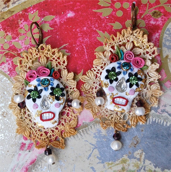 Lilygrace Calavera Earrings, Cream Skull with Roses, Vintage Silk Lace, Freshwater Pearls  and Vintage Rhinestone Eyes
