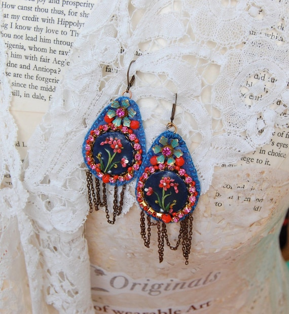 Lilygrace Hand Sewn Blue and Red Silk  Beaded Floral Cameo Earrings