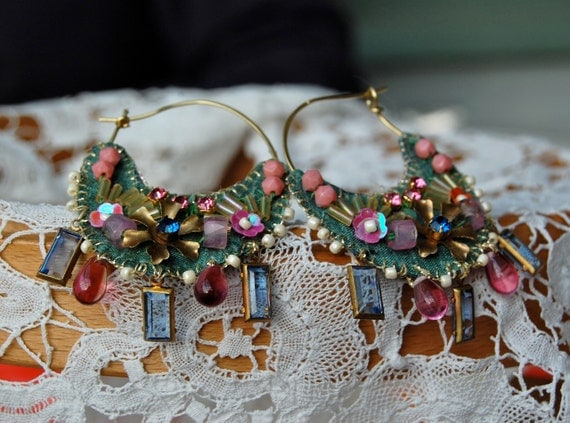 Lilygrace Sage and Pink Hoop Earrings with Silk, Vintage Rhinestones and Glass Beads