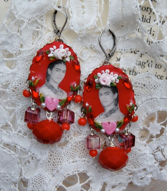 Lilygrace Frida Red Cameo Earrings with Freshwater Pearls and Vintage Rhinestones