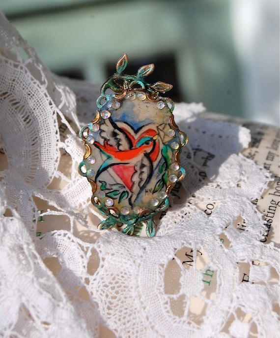Lilygrace Tattoo Swallow and Heart Handpainted Cameo Ring with Rhinestones