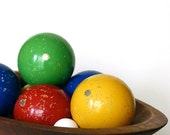 Vintage Set of Wooden Bocce Balls with AMAZING Patina Made in Italy