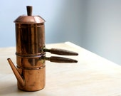 Vintage Stove Top Copper Neapolitan Espresso Coffee Pot