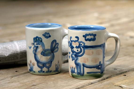 Pair of Vintage Mary Hadley Stoneware Mugs Cow and Chicken