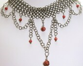 Pink stone lace - Chainmail choker in stainless steel and rhodonite