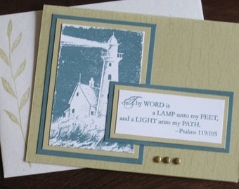 Lighthouse Scripture Card for Encouragement, Birthday, or Sympathy
