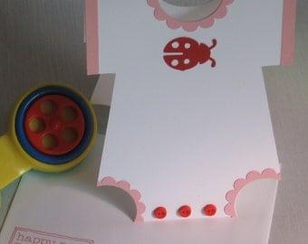 Ladybug Onesie Baby Card