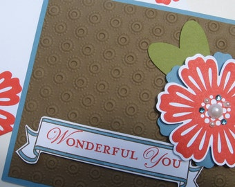 Wonderful You Card with Flowers and Bling