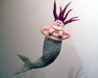 Sassy Needle Felted Mermaid Plush Doll Redhead