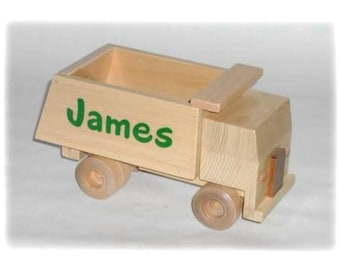 Wooden Personalized Toy Dump Truck - Short Cab