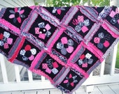 Rag Quilt, Baby Blanket, Crib Bedding, Pink, Black, Gray, Flower Applique, MADE TO ORDER
