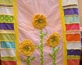 Girl RAG QUILT, Ruffled Flower, Yellow, Toddler Bedding, Made to Order, Custom