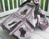Flower Applique Rag Quilt Car Seat Canopy Pattern - Beginner Pattern - Baby Quilt Patterns - Easy Quilt Pattern - Modern Quilt Pattern