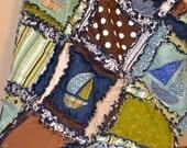 RAG QUILT, Applique Boat, Baby Boy Crib Blanket, Custom, Vintage, Made to Order - Nautical Crib Bedding Sets - Baby Boy Sailboat Nursery