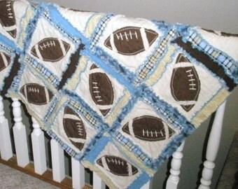 Football Quilt Pattern - Sports Rag Quilt Pattern - Beginner Pattern - Baby Quilt Patterns - Easy Quilt Patterns - Boy Beginner Pattern