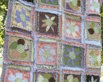 Rag Quilt PATTERN, Baby Quilt Pattern, Sewing, Flower Applique, Baby Blanket, Instant Download Quilt Pattern