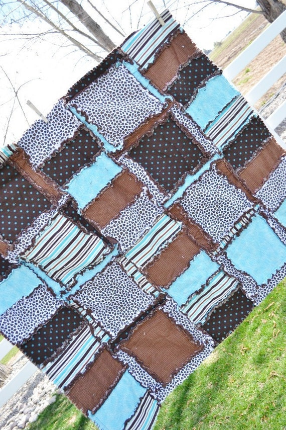 RAG QUILT, Throw Blanket, Cheetah, Blue, and Brown, 41x46, Ready to Ship
