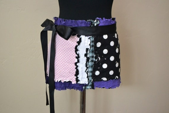 Woman's APRON, Half, Pink Black and Purple, with long ties, Ready to Ship