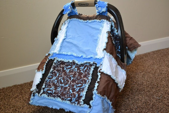 CARSEAT CANOPY, Nursing Cover, Rag Quilt, Blue,Brown, Baby Blanket, Ready To Ship
