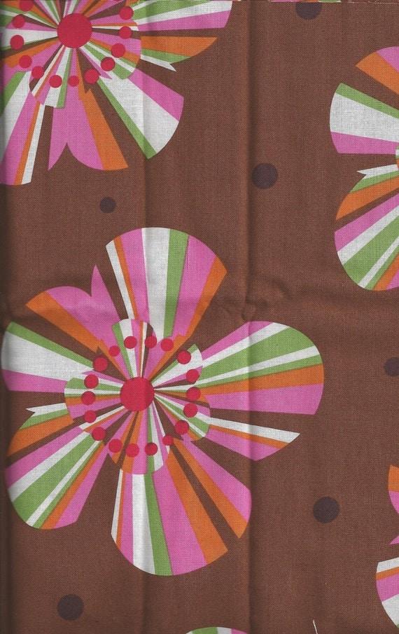 Cotton Fabric, Pink, Green, Brown Hawaiian Flower, 1/2 Yard, more yardage available