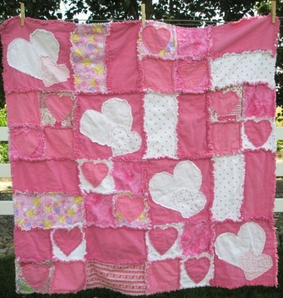 Rag Quilt Sewing Pattern Heart Applique Baby By