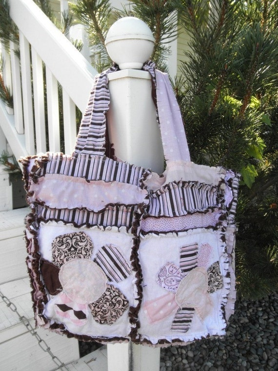 Flower Applique Rag Purse Pattern - Baby Diaper Bag Pattern- Rag Quilt Purse Pattern - Sewing a Purse - How to Make a Purse - Sewing Pattern