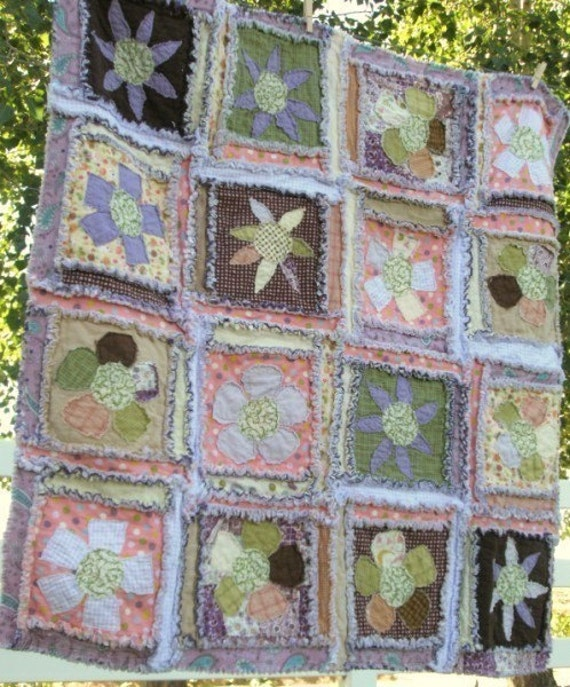 Rag Quilt PATTERN, Baby Quilt Pattern - Flower Applique, Baby Blanket, Instant Download Quilt Pattern - FMA Quilt Pattern - How to Rag Quilt
