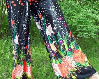 SALE 1970's Black and Floral pants