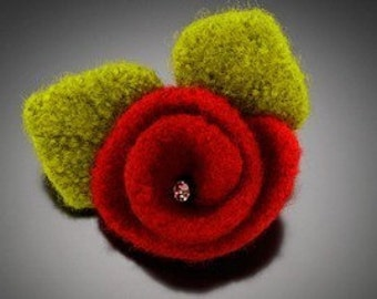 Red Felted Flower Pin Felted Flower Pin Felted Brooch Red Brooch Red Pin Shawl Pin Scarf Pin Purse Pin Red Rose Flower Pin Womens Gifts
